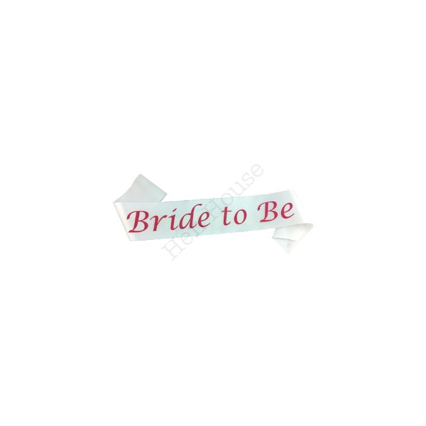 Bride to Be Sash (White & Pink)