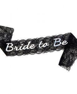 Black Lace Bride to Be Sash