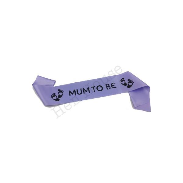 Purple Mum to Be Sash