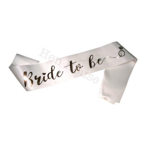 Rose Gold on White Bride to Be Sash